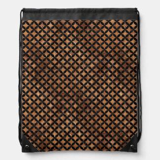 CIRCLES3 BLACK MARBLE & BROWN STONE (R) DRAWSTRING BAG