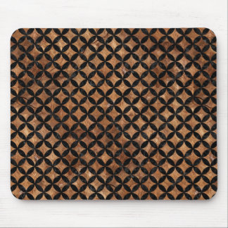 CIRCLES3 BLACK MARBLE & BROWN STONE (R) MOUSE PAD