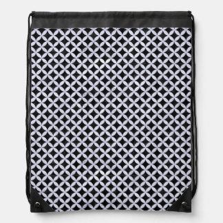 CIRCLES3 BLACK MARBLE & WHITE MARBLE DRAWSTRING BAG