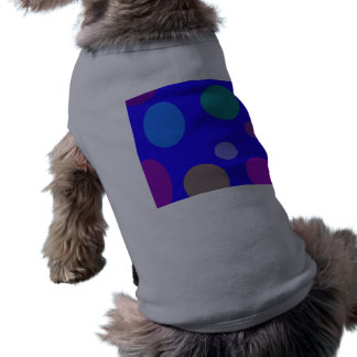 Circles and Ovals on a Blue Background Sleeveless Dog Shirt