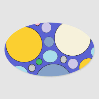 circles and polka dots oval sticker