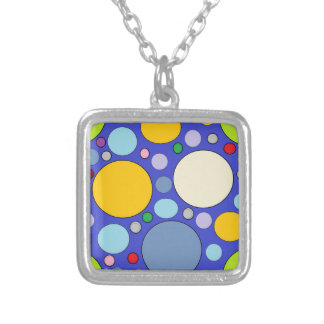 circles and polka dots silver plated necklace