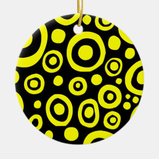 Circles and Spots 01 - Yellow Round Ceramic Decoration