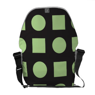 Circles and square black greens courier bags