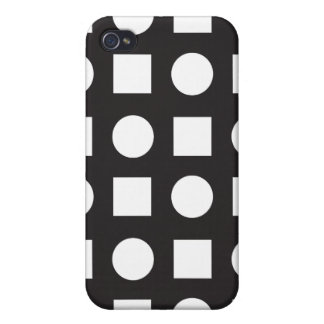 Circles and square black white iPhone 4/4S cases