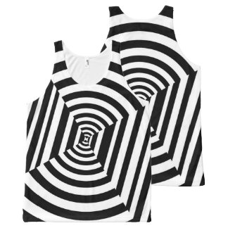 Circles and Stripes Illusion, Black and White All-Over Print Tank Top