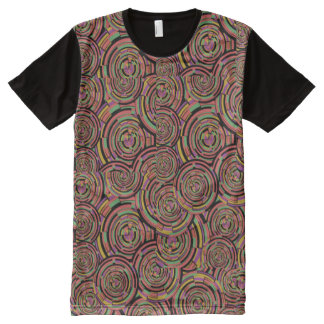 Circles and Swirls All-Over Print T-Shirt