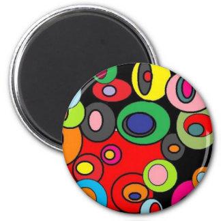 """Circles Circles 4"" 6 Cm Round Magnet"