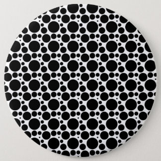 Circles & Dots in 7 Sizes: Repeating Black & White 6 Cm Round Badge