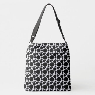 Circles & Dots in 7 Sizes: Repeating Black & White Crossbody Bag