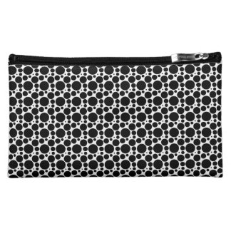 Circles & Dots in 7 Sizes: Repeating Black & White Makeup Bags