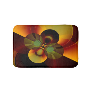 Circles Geometric Abstract Brown and Gold Bath Mat