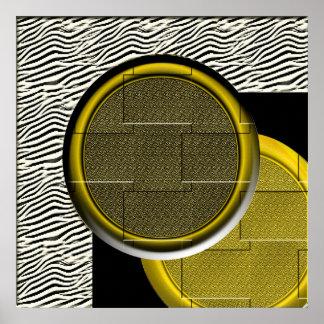 Circles Gold Black Texture Print