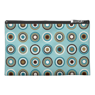 Circles in Rings Ptn Teals Brown Cream Gold Travel Accessory Bags