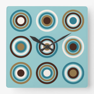 Circles in Rings Teals Brown Cream Gold Square Wall Clock