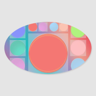 Circles in Squares : Full of Life Shades Pattern Oval Sticker