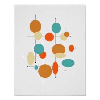 Circles Mid Century Modern Styled Poster