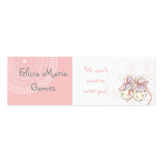 Circles 'n Booties, Baby Girl Shower Invitation Business Cards
