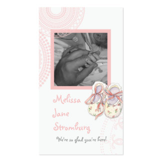 Circles 'n Booties, Baby Girl Shower Invitation Business Card Template