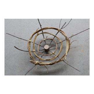 Circles of Vines & Wood Sculpture Centered Poster