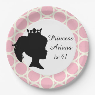 Circles Princess Custom Birthday Paper Plates 9 Inch Paper Plate
