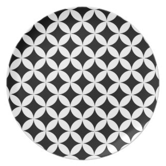 Circles stars black and white design plate