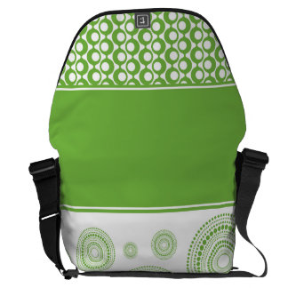 Circles & Stripes in 2017 Pantone Color: Greenery Messenger Bags