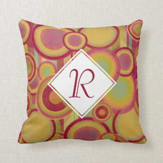 Circles & Stripes, Red, Yellow & Green Monogram Cushion
