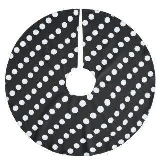 Circles (White on Black); Christmas Tree Skirt Brushed Polyester Tree Skirt