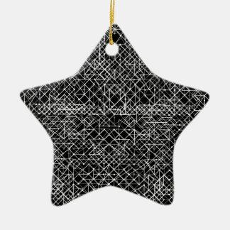 Circuit Black And White Ceramic Star Decoration