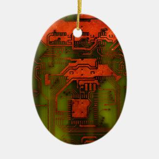 Circuit Board 1 Ceramic Oval Decoration