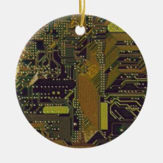Circuit Board 1 Round Ceramic Decoration