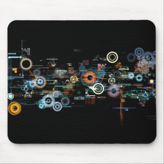 Circuit Board - Black Mouse Pad