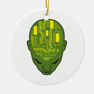 circuit board brain head yellow and green round ceramic decoration