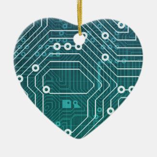 Circuit Board Data Network Ceramic Heart Decoration