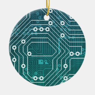Circuit Board Data Network Round Ceramic Decoration