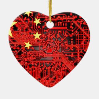 circuit board Flag (China) Ceramic Heart Decoration