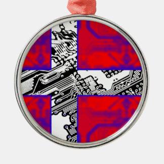 circuit board Flag (Denmark) Silver-Colored Round Decoration