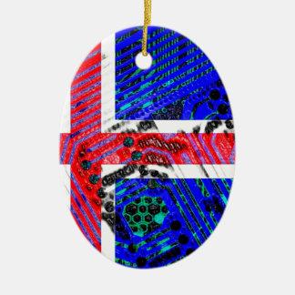 circuit board iceland (Flag) Ceramic Oval Decoration