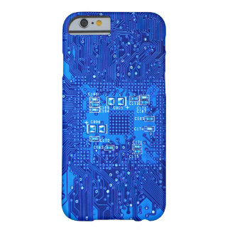 Circuit board in blue monochrome barely there iPhone 6 case
