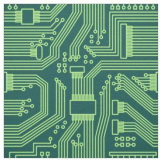 Circuit Board Pattern Lime Green ID245 Fabric