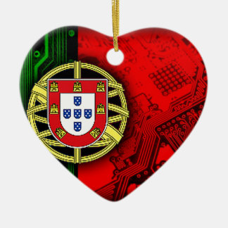 circuit board Portugal (Flag) Ceramic Heart Decoration