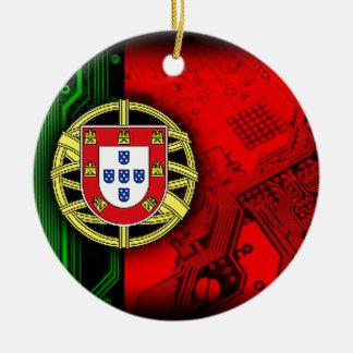 circuit board Portugal (Flag) Round Ceramic Decoration