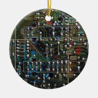 Circuit Board Round Ceramic Decoration