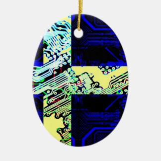 circuit board Sweden (Flag) Ceramic Oval Decoration