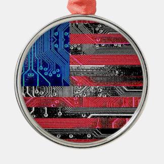 circuit board USA Silver-Colored Round Decoration