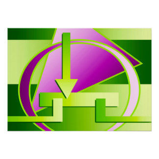 """Circuit Diagram"" digital art print, lime green Poster"
