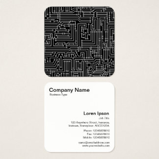Circuit Diagram - White on Black Square Business Card