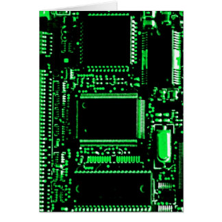 Circuit Green greetings card portrait