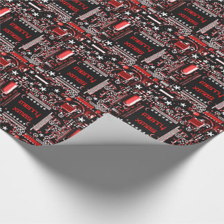 Circuit Red 2 Merry Xmas wrapping paper